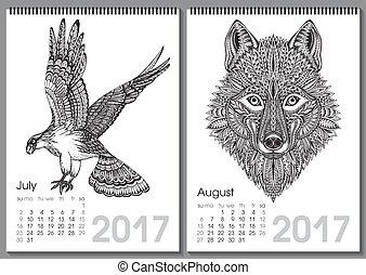 Calendar 2017. Beautiful ornate hand drawn animals for every...