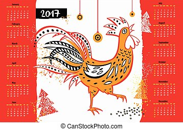 Calendar 2017 Chinese New Year of the Rooster . Vector Illustrat