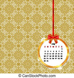 Calendar 2017 in golden circle frame with red bow on vintage decor seamless pattern