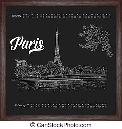 Calendar 2017 january, february with city sketching Paris, France on chalkboard background