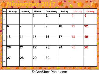 calendar 2017 months november for germany
