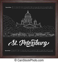 Calendar 2017 november, december with city sketching Saint Petersburg, Russia on chalkboard background