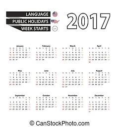 Calendar 2017 on English language. With Public Holidays for ...