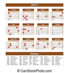 Calendar 2017 set 12 month on brown background vector illustration. art