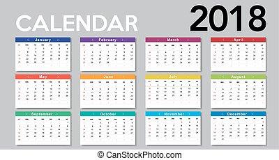 Calendar 2017 template design. Week starts from Sunday