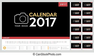 Calendar 2017 template design. Week starts from Sunday.