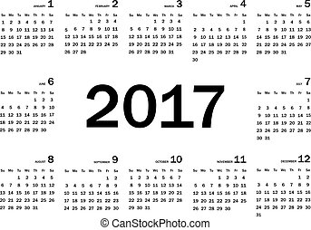 Calendar 2017 year simple style. Week starts from sunday. Vector