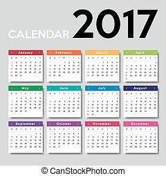 Calendar 2017. Week starts from Sunday