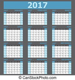 Calendar 2017 week starts on Sunday (blue tone), stock...