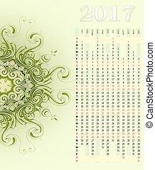 Calendar 2017 with ornament