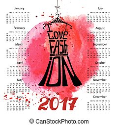 Calendar 2017 year. Black dress lettering. Watercolor splash