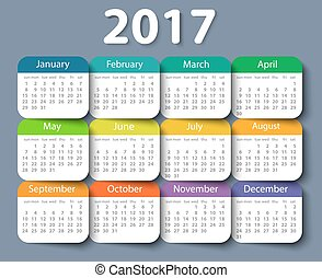 Calendar 2017 year vector design template. EPS10
