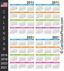 Calendar 2018-2021 - Calendar 2018 2019 2020 2021 / English...