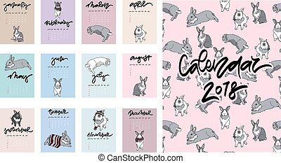 Calendar 2018. Cute monthly calendar with rabbits.