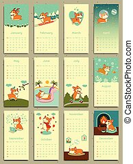 Calendar 2018. Cute monthly calendar with welsh corgi.