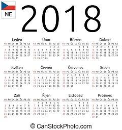Calendar 2018, Czech, Sunday