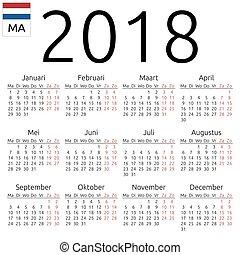 Calendar 2018, Dutch, Monday