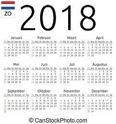 Calendar 2018, Dutch, Sunday