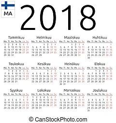 Calendar 2018, Finnish, Monday - Simple annual 2018 year...