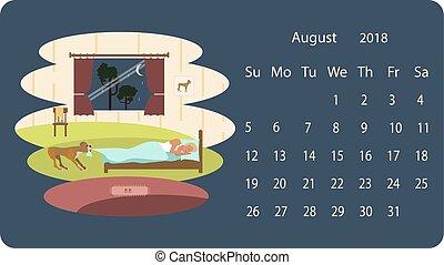 Calendar 2018 for August