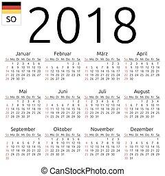 Calendar 2018, German, Sunday