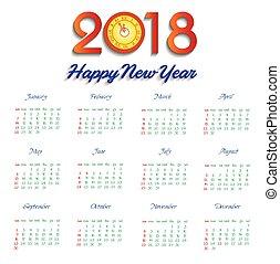 calendar 2018 happy new year Vector Illustration