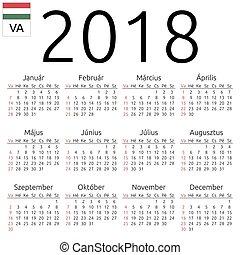 Calendar 2018, Hungarian, Sunday