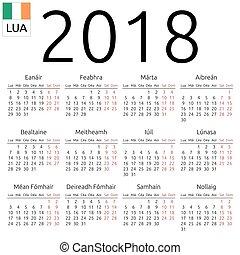 Calendar 2018, Irish, Monday