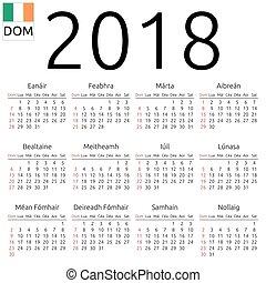 Calendar 2018, Irish, Sunday
