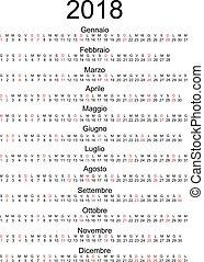 Calendar 2018 Italian holidays marked