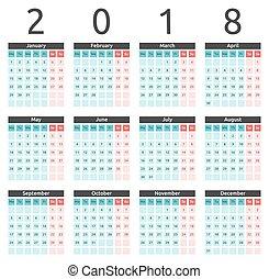 Calendar 2018, Monday, English