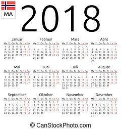 Calendar 2018, Norwegian, Monday