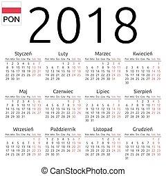 Calendar 2018, Polish, Monday