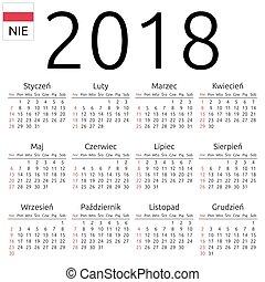Calendar 2018, Polish, Sunday