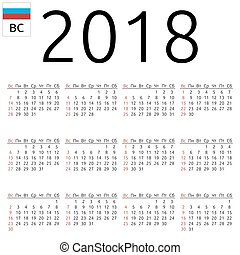 Calendar 2018, Russian, Sunday