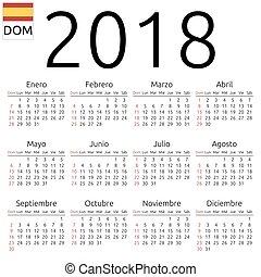 Calendar 2018, Spanish, Sunday