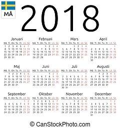 Calendar 2018, Swedish, Monday