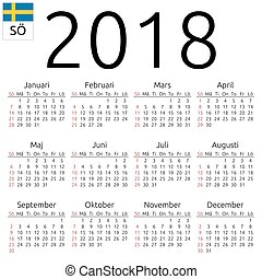 Calendar 2018, Swedish, Sunday
