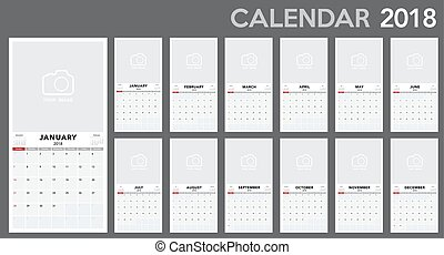 Calendar 2018 template design. Week starts from Sunday