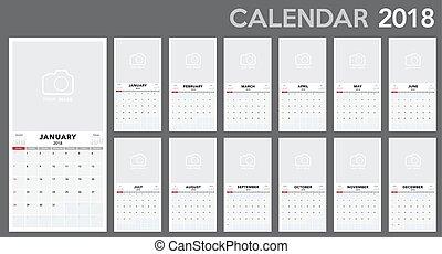 Calendar 2018 template design. Week starts from Sunday