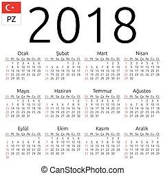 Calendar 2018, Turkish, Sunday