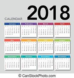 Calendar 2018. Week starts from Sunday