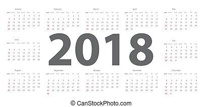 Calendar 2018. Week starts from Sunday. Vector Illustration