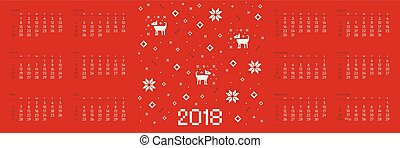 Calendar 2018 with cross stitch dog pixel art