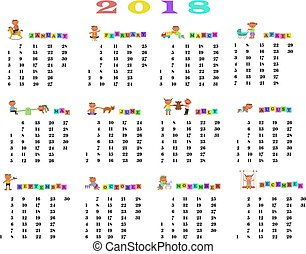 Calendar 2018 with cute children