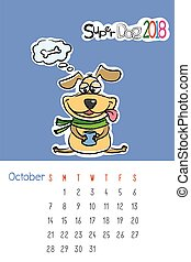 Calendar 2018 with cute funny dog