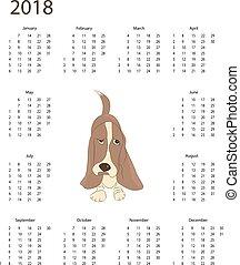 Calendar 2018 with dog