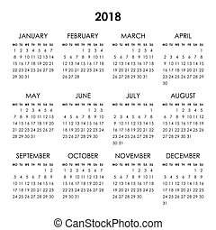 Calendar 2018 year - Calendar for 2018 year isolated on a...