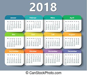 Calendar 2018 year German. Week starting on Monday. eps