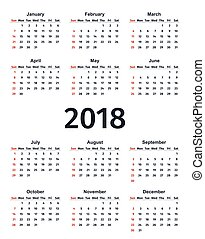 Calendar 2018 year in simple style. Vector template planner.